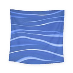 Lines Swinging Texture  Blue Background Square Tapestry (small)