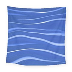 Lines Swinging Texture  Blue Background Square Tapestry (large)