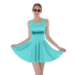 Turquoise Flower Blue Skater Dress