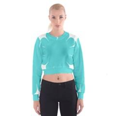 Turquoise Flower Blue Women s Cropped Sweatshirt