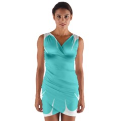Turquoise Flower Blue Wrap Front Bodycon Dress