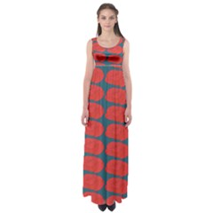 Rose Repeat Red Blue Beauty Sweet Empire Waist Maxi Dress