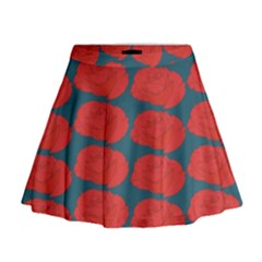 Rose Repeat Red Blue Beauty Sweet Mini Flare Skirt