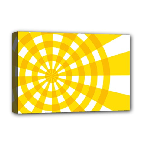 Weaving Hole Yellow Circle Deluxe Canvas 18  X 12