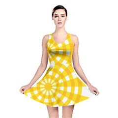 Weaving Hole Yellow Circle Reversible Skater Dress