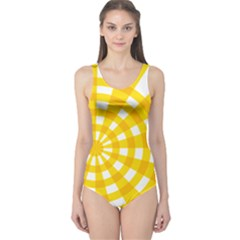 Weaving Hole Yellow Circle One Piece Swimsuit