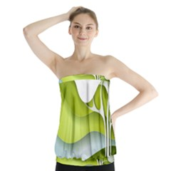 Tree Wood  White Green Strapless Top