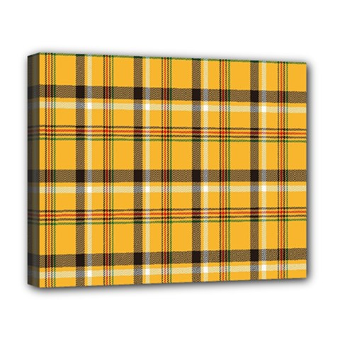 Plaid Yellow Line Deluxe Canvas 20  X 16