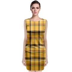 Plaid Yellow Line Classic Sleeveless Midi Dress