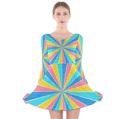 Rhythm Heaven Megamix Circle Star Rainbow Color Long Sleeve Velvet Skater Dress