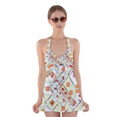 Multicolor Abstract Painting  Halter Swimsuit Dress