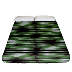 Stripes Camo Pattern Print Fitted Sheet (King Size)