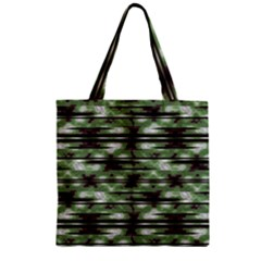 Stripes Camo Pattern Print Zipper Grocery Tote Bag