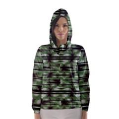 Stripes Camo Pattern Print Hooded Wind Breaker (Women)