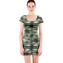 Stripes Camo Pattern Print Short Sleeve Bodycon Dress