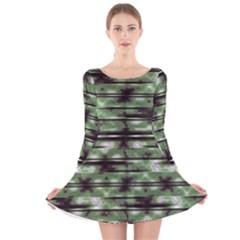 Stripes Camo Pattern Print Long Sleeve Velvet Skater Dress