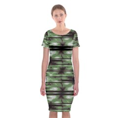 Stripes Camo Pattern Print Classic Short Sleeve Midi Dress