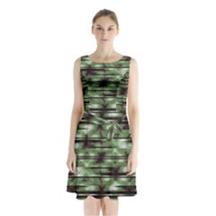 Stripes Camo Pattern Print Sleeveless Chiffon Waist Tie Dress