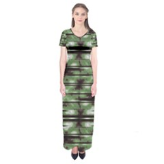 Stripes Camo Pattern Print Short Sleeve Maxi Dress