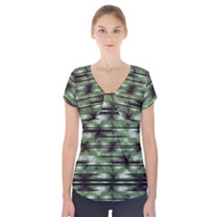 Stripes Camo Pattern Print Short Sleeve Front Detail Top