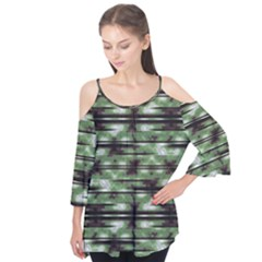 Stripes Camo Pattern Print Flutter Tees