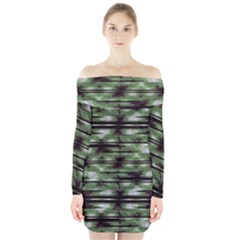Stripes Camo Pattern Print Long Sleeve Off Shoulder Dress