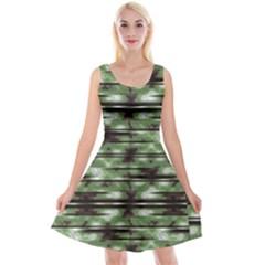 Stripes Camo Pattern Print Reversible Velvet Sleeveless Dress