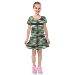 Stripes Camo Pattern Print Kids  Short Sleeve Velvet Dress
