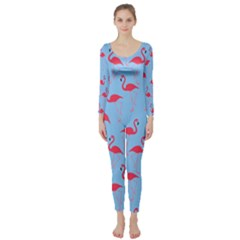 Flamingo pattern Long Sleeve Catsuit