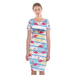Flamingo pattern Classic Short Sleeve Midi Dress