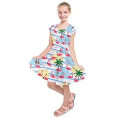 Flamingo pattern Kids  Short Sleeve Dress