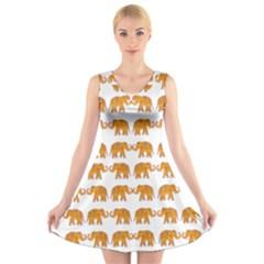 Indian elephant  V-Neck Sleeveless Skater Dress
