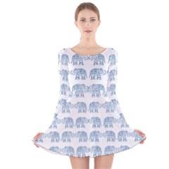 Indian elephant  Long Sleeve Velvet Skater Dress