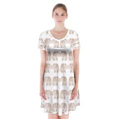 Indian elephant Short Sleeve V-neck Flare Dress