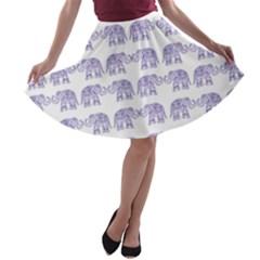 Indian elephant pattern A-line Skater Skirt