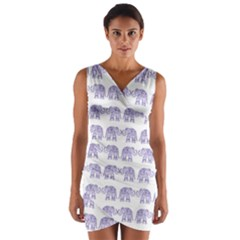 Indian elephant pattern Wrap Front Bodycon Dress