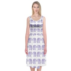 Indian elephant pattern Midi Sleeveless Dress