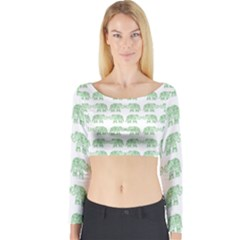 Indian elephant pattern Long Sleeve Crop Top