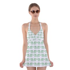 Indian elephant pattern Halter Swimsuit Dress