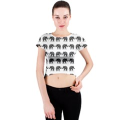 Indian elephant pattern Crew Neck Crop Top