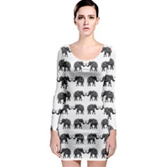 Indian elephant pattern Long Sleeve Bodycon Dress