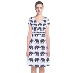 Indian elephant pattern Short Sleeve Front Wrap Dress
