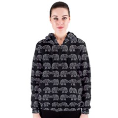 Indian elephant pattern Women s Zipper Hoodie