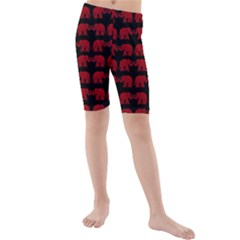 Indian elephant pattern Kids  Mid Length Swim Shorts