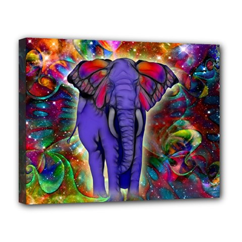 Abstract Elephant With Butterfly Ears Colorful Galaxy Canvas 14  x 11