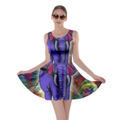 Abstract Elephant With Butterfly Ears Colorful Galaxy Skater Dress