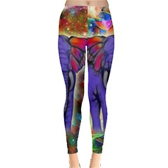 Abstract Elephant With Butterfly Ears Colorful Galaxy Leggings