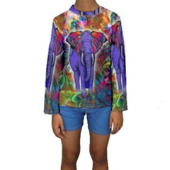 Abstract Elephant With Butterfly Ears Colorful Galaxy Kids  Long Sleeve Swimwear