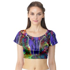 Abstract Elephant With Butterfly Ears Colorful Galaxy Short Sleeve Crop Top (tight Fit)