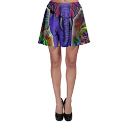 Abstract Elephant With Butterfly Ears Colorful Galaxy Skater Skirt